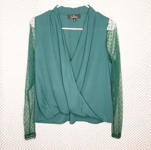 Lulu's Wrap Top Lace Illusion Sleeves Green